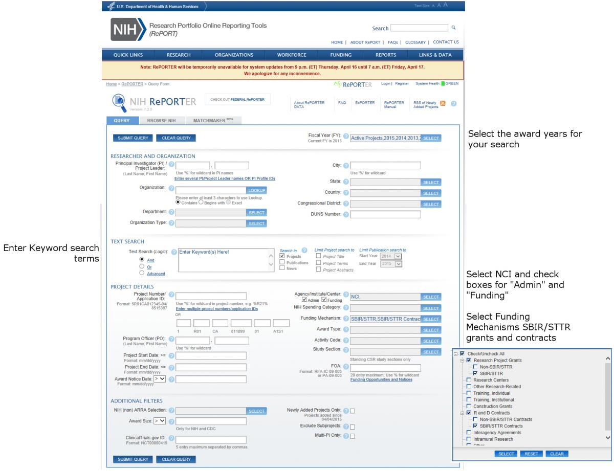 Image of the NIH Reporter interface with instructions on how to use the search tool